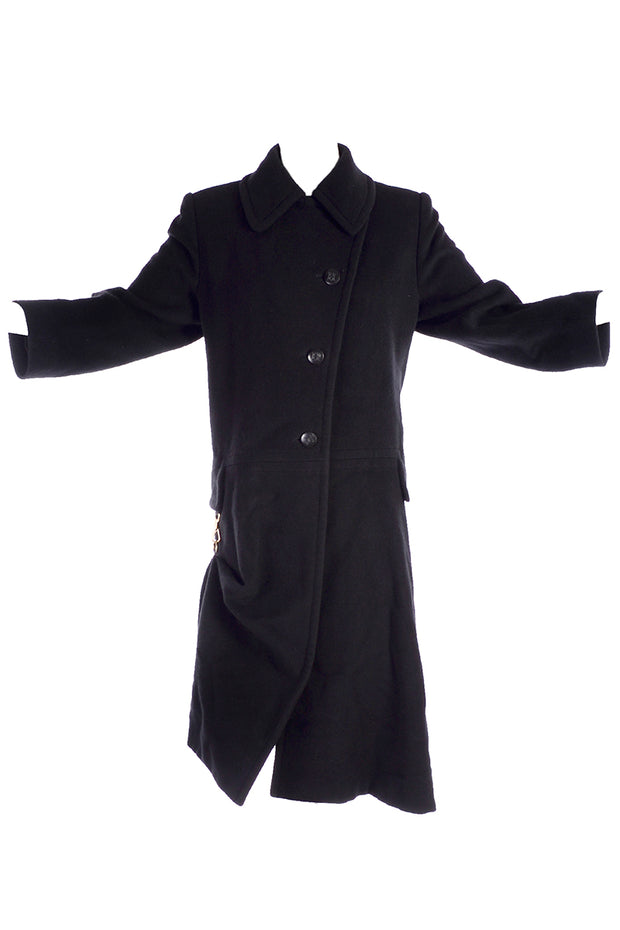 Black Cashmere Hermes Coat with Toggle