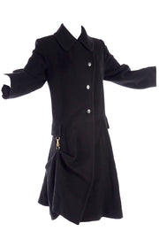 Hermes Paris Black Cashmere Coat