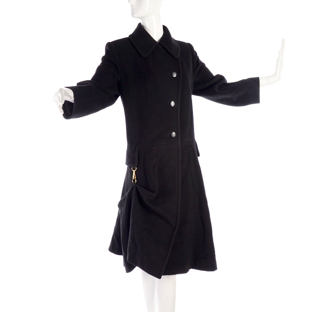 Vintage Hermes black cashmere long coat