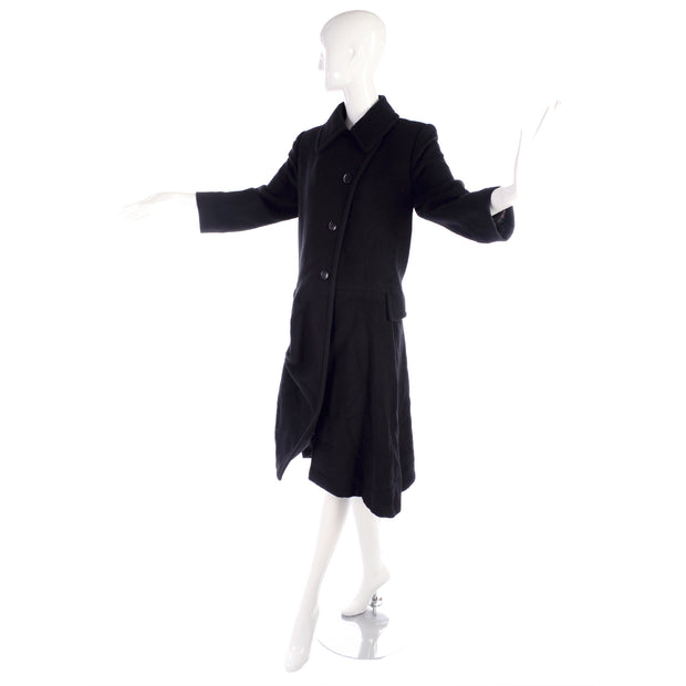 Hermes Black Cashmere Vintage Coat w/ Toggle Clip