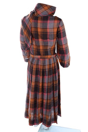 Brown and Orange vintage plaid wool girls dress w attached scarf