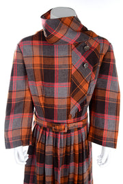 I Magnin Vintage Orange Plaid Young Adult Girl's Dress w/ Attached Scarf