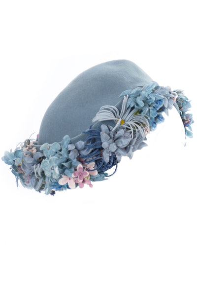Vintage 1940s I Magnin blue wool felt hat with flowers - Dressing Vintage