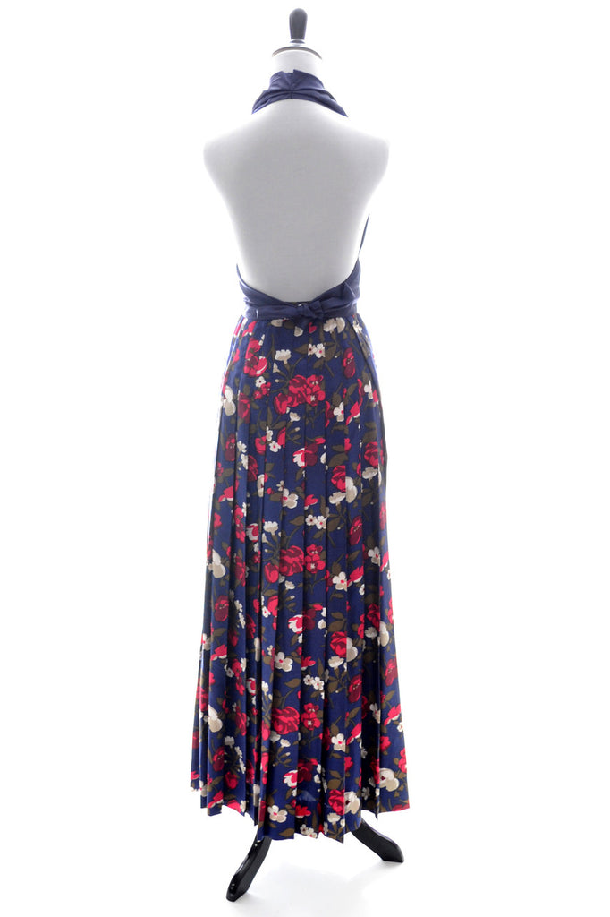 Vintage I Magnin Blue Floral Blazer and Maxi Skirt Suit
