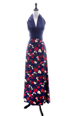 Vintage I Magnin Blue Floral Blazer and Maxi Skirt Suit - Dressing Vintage