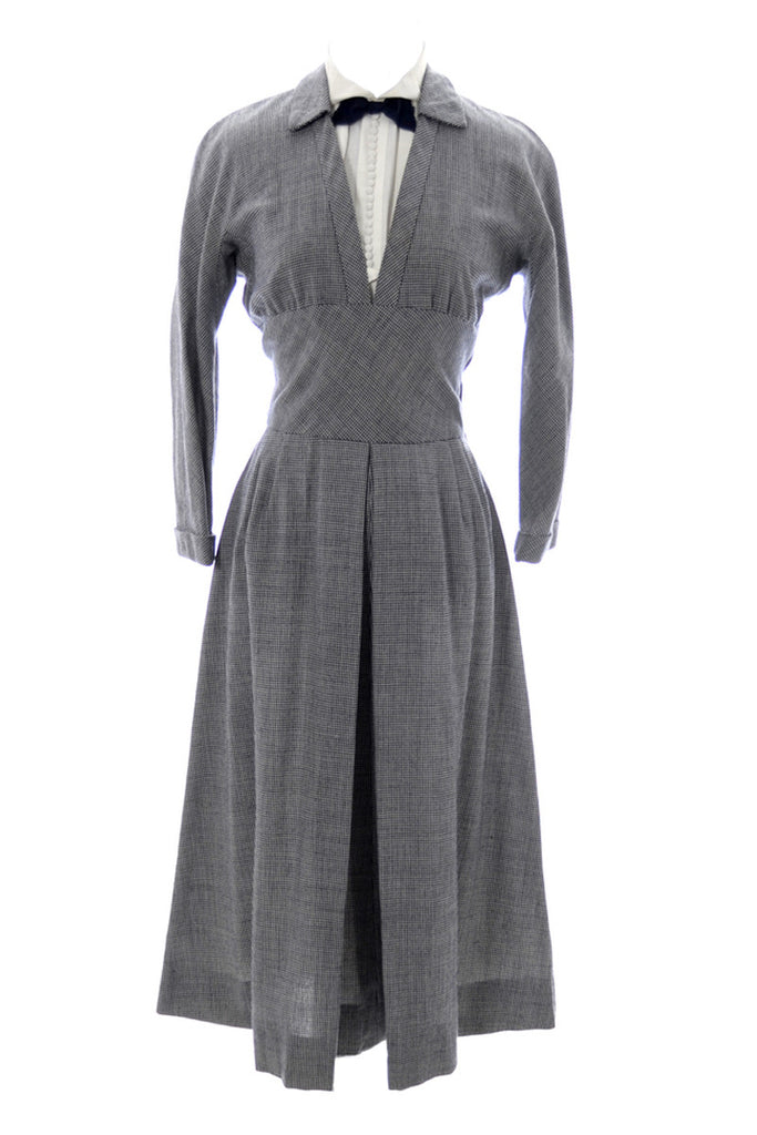 1950s black and white checked wool dress