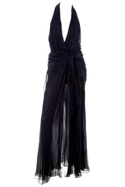 Low Cut 1990s Gianni Versace Sheer Black Silk Chiffon Halter Evening Dress