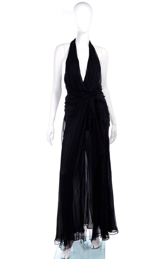 1990s Gianni Versace Vintage Sheer Black Silk Chiffon Halter Evening Dress