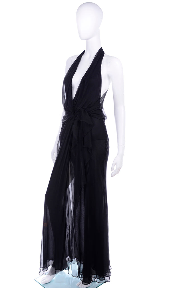 Vintage 1990s Gianni Versace Sheer Black Silk Chiffon Halter Evening Dress