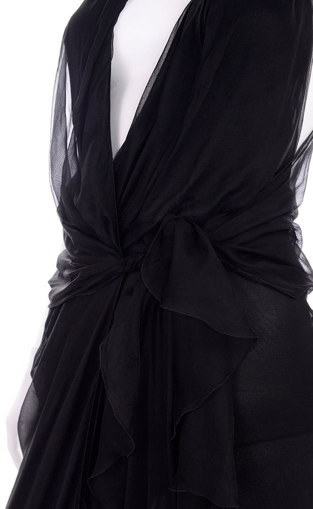 1990s Gianni Versace Vintage Dress in Sheer Black Silk Chiffon