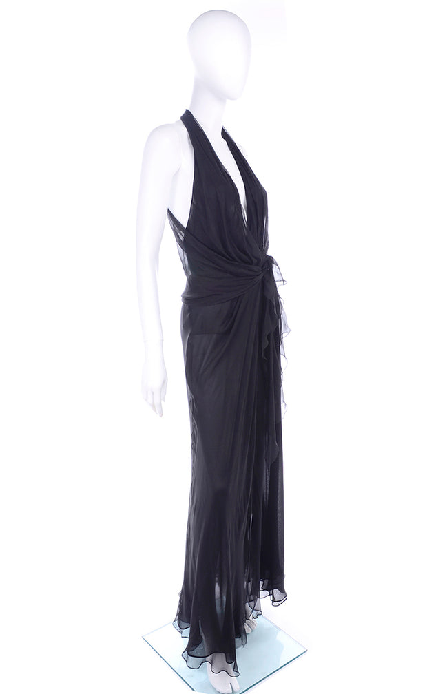 1990s Gianni Versace Sheer Black Silk Chiffon Vintage Dress