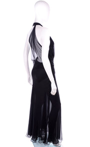 1990s Gianni Versace Sheer Black Silk Chiffon Evening Halter Dress