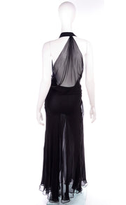 1990s Gianni Versace Sheer Black Silk Chiffon High Slit Evening Dress