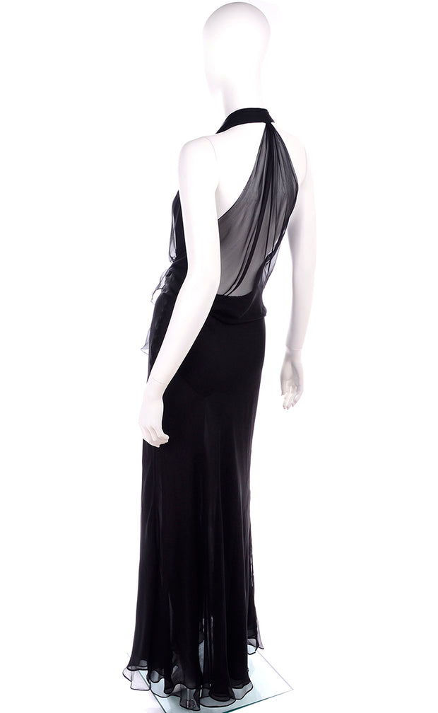 1990s Gianni Versace Couture Sheer Black Silk Chiffon Halter Evening Dress