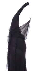 1990s Iconic Gianni Versace Sheer Black Silk Chiffon Evening Dress