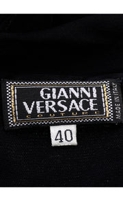 90s Gianni Versace Couture Sheer Black Silk Chiffon Halter Evening Dress