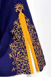 Aananda Vintage 1960's Blue Tunic or Dress w Marigold Embroidery Trim