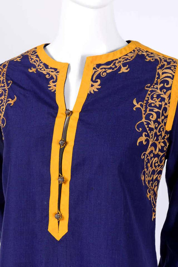 Aananda Vintage 1960's Blue Tunic Dress w Marigold Hand EmbroideredTrim