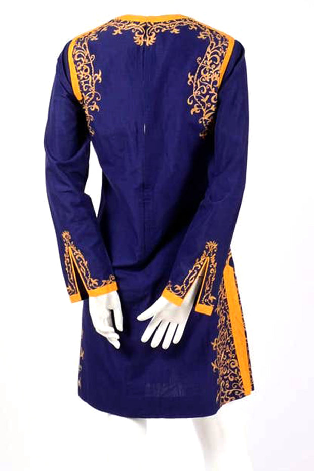 Aananda Vintage 1960's Blue Tunic Dress w Marigold Embroidery Trim India