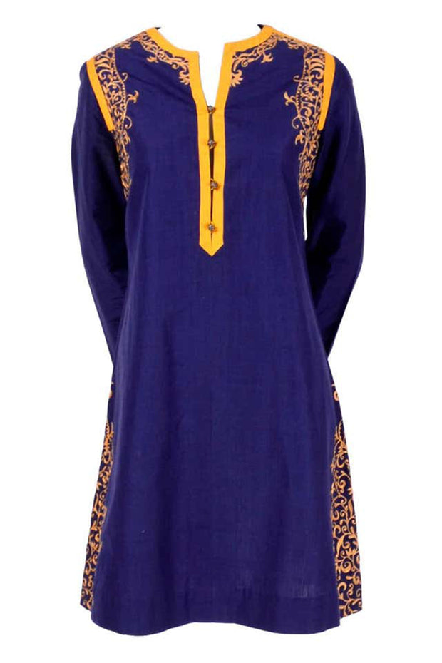 Aananda Vintage 1960's Blue Tunic Dress w Marigold Embroidery Trim