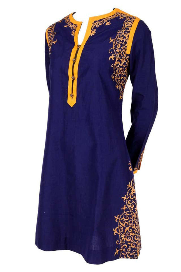Aananda Vintage 1960's Blue Tunic Dress with Marigold Embroidery Trim