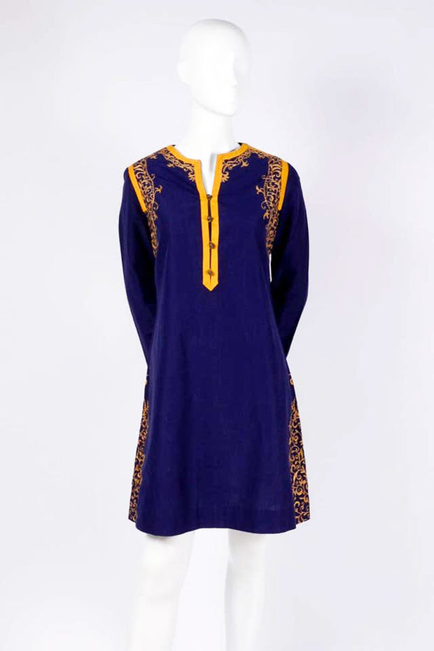 1970s Aananda Vintage 1960's Blue Tunic Dress w Marigold Embroidery Trim