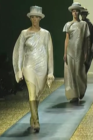 F/W 1994 Metallic pleated Issey Miyake Vintage dress