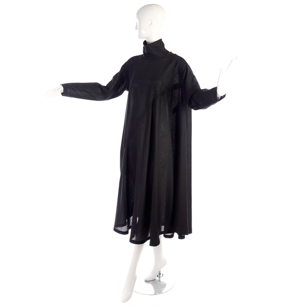 Issey Miyake Wool tent dress w turtleneck and seams