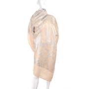 Asymmetrical Issey Miyake Silver Metallic Pleated Dress