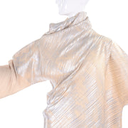 F/W 1994 Issey Miyake Asymmetrical Pleated Dress Metallic Deadstock