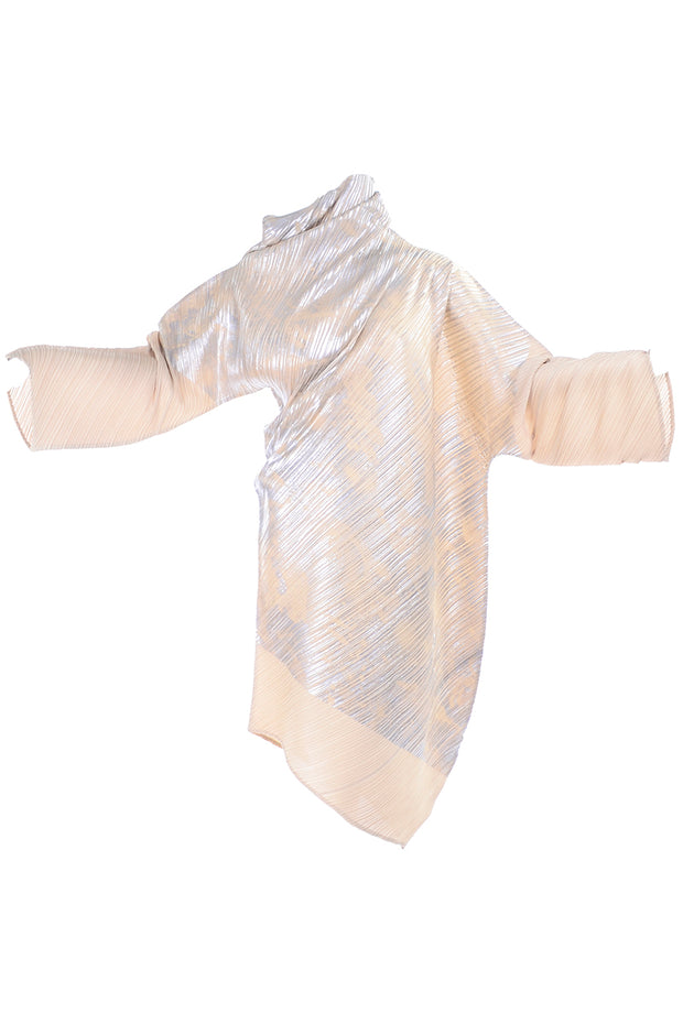 Fall Winter 1994/95 Issey Miyake Pleated Metallic Asymmetrical Dress