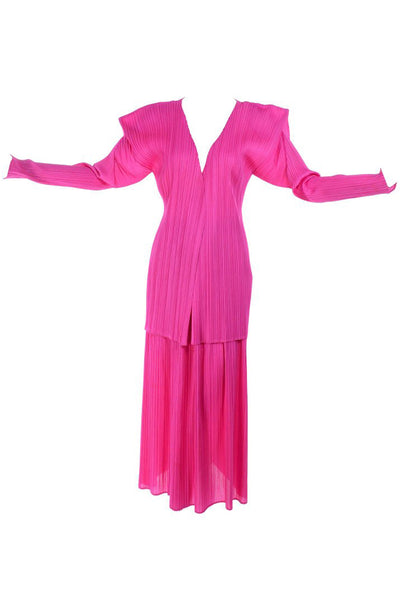 Vintage Issey Miyake Hot Pink Open Front Cardigan and Skirt