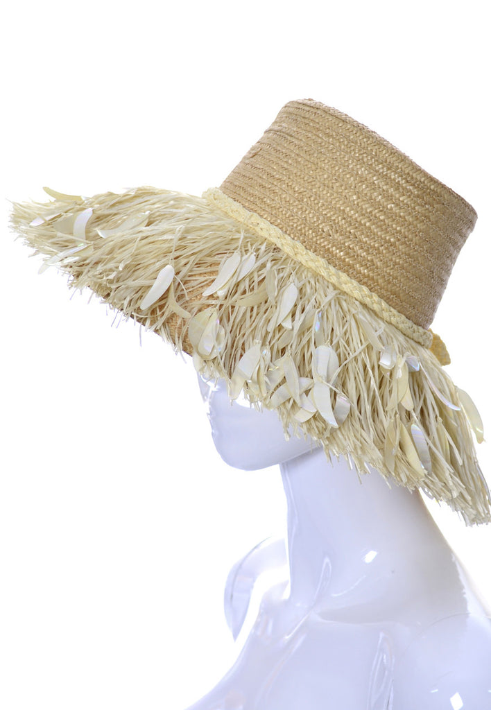 Island Raffia Fringe vintage Straw wide brimmed hat Made in Italy SOLD - Dressing Vintage