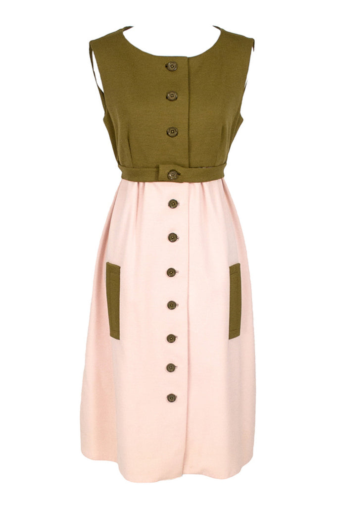 Jacques Tiffeau pink and brown wool dress