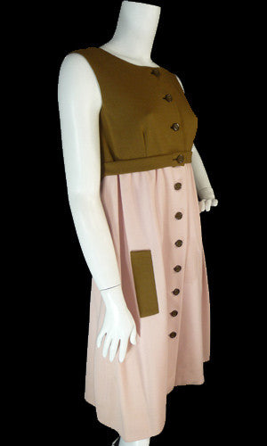Jacques Tiffeau Designer Pink and Brown Wool Vintage Dress - Dressing Vintage