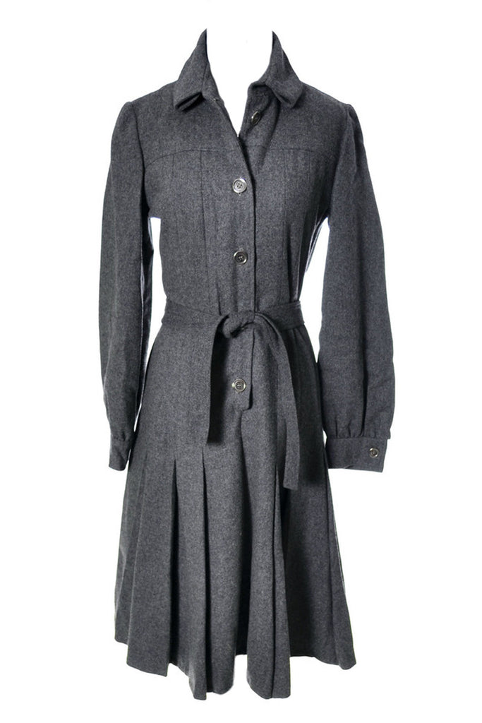 60s gray wool vintage dress