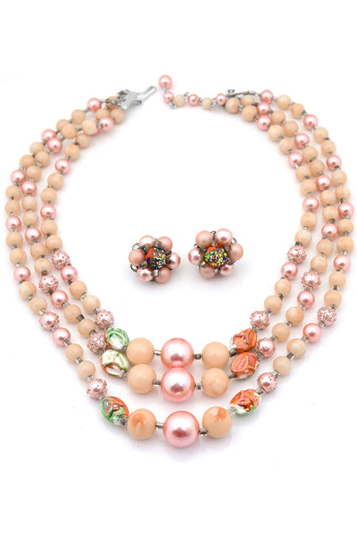 Japan Vintage Multi Strand Necklace Earrings