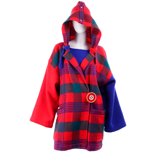 1980s Plaid Jean Charles de Castelbajac Vintage Blanket Coat Blue Red