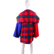 1980s Plaid Jean Charles de Castelbajac Vintage Red & Blue Plaid  Coat
