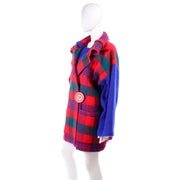 Red & Blue 1980s Plaid Jean Charles de Castelbajac Vintage Blanket Coat