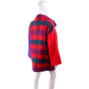Jean Charles de Castelbajac Vintage Plaid Coat With Hood 80s