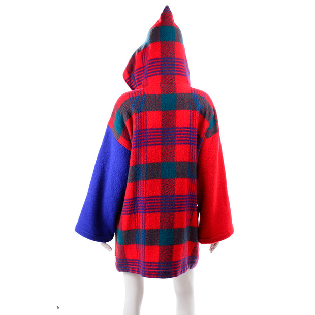 1980s Plaid Jean Charles de Castelbajac Vintage Blanket Coat Red Blue