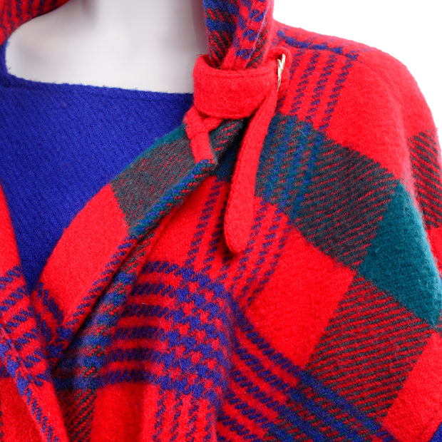 1980s Plaid Jean Charles de Castelbajac Vintage Blanket Coat Red Plaid