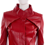 Jean-Louis Scherrer Red Lambskin Leather Jacket w/ Criss Cross Pleating Small