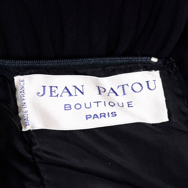 Jean Patou Boutique Paris Evening Gown w/ Pleated Skirt and beading