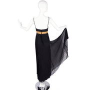 Jean Patou 1970's Sleeveless Evening Gown w/ Pleated Skirt