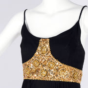 Jean Patou Grecian Evening Gown w/ gold beaded sequin bodice