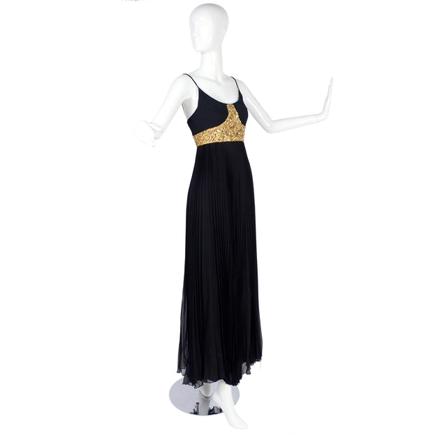 Jean Patou Grecian Evening Gown w/ Gold Bodice and Pleated Skirt