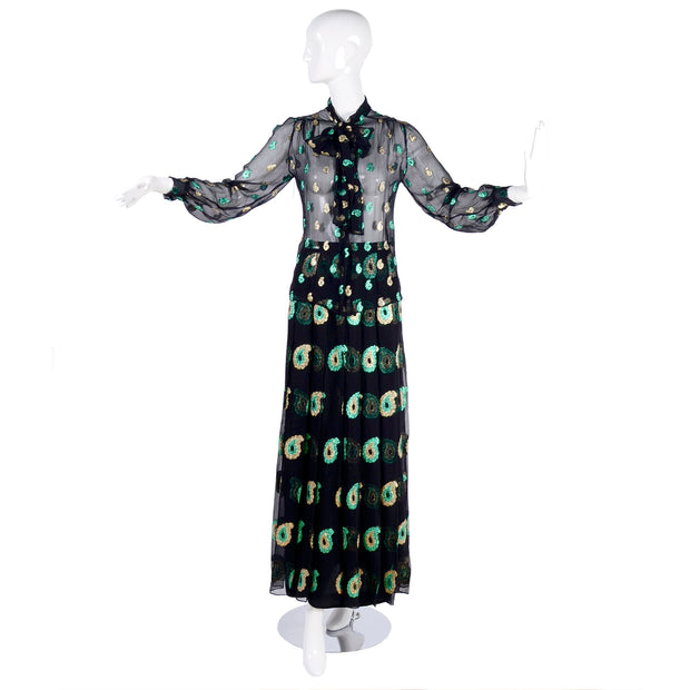 1970s Jean Patou Black Silk Paisley Two Piece Evening Dress