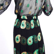 1970s Jean Patou Black Silk Paisley Two Piece Vintage Evening Dress